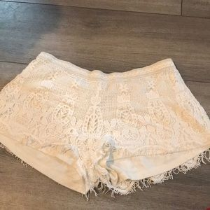 White Lace Stretch Shorts